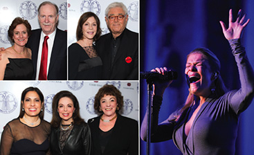 At the 2013 Women's Guild Annual Gala (clockwise from top): Kathy McKenna and Honoree Dr. Robert J. McKenna, Jr.; Honorees Lauren Shuler Donner and Richard Donner; LeAnn Rimes performs; Women's Guild President Lorette Gross, with event co-chairs Wendy Goldberg and Barbara Herman